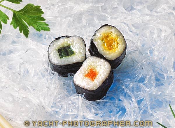 Sushi Food Photography for stylish Yacht Photography